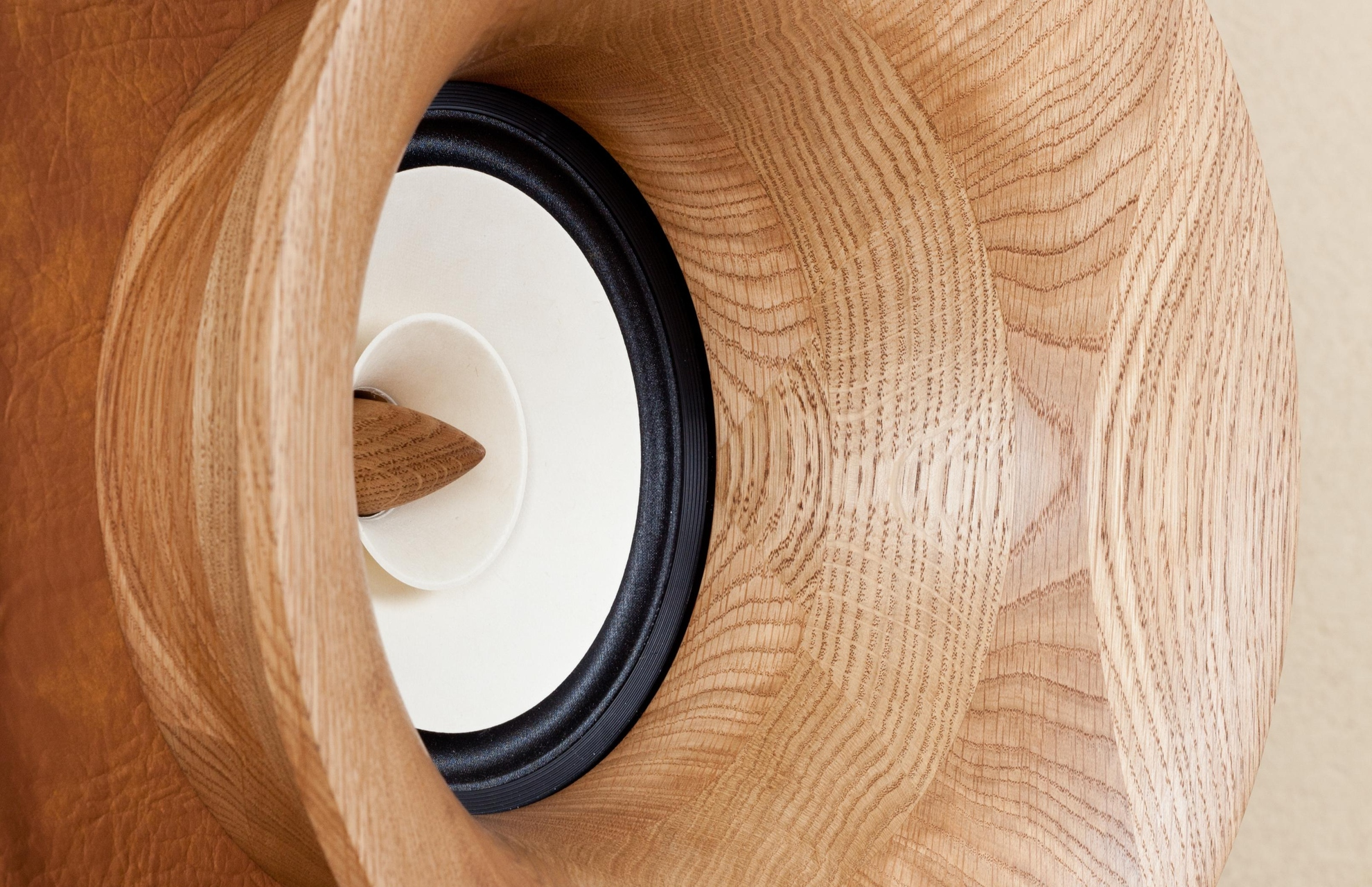 HIFI stereo speakers Evolution, front real wood horn. Home audio for audiophiles.